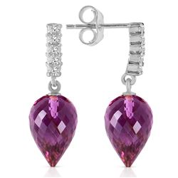 Genuine 19.15 ctw Amethyst & Diamond Earrings Jewelry 14KT White Gold - REF-47V4W