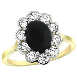 Natural 2.38 ctw Onyx & Diamond Engagement Ring 14K Yellow Gold - REF-79R6Z