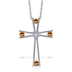 Genuine 0.43 ctw Citrine & Diamond Necklace Jewelry 14KT White Gold - REF-76T7A