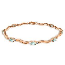 Genuine 2.01 ctw Aquamarine & Diamond Bracelet Jewelry 14KT Rose Gold - REF-79H7X