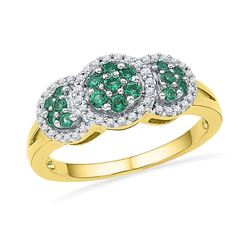 0.43 CTW Created Emerald Diamond Cluster Ring 10KT Yellow Gold - REF-26K9W
