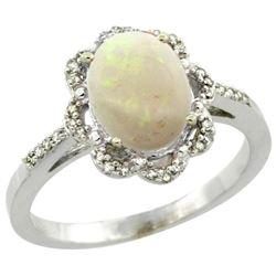 Natural 1.15 ctw Opal & Diamond Engagement Ring 10K White Gold - REF-29A3V