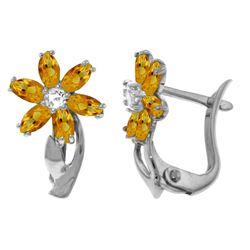 Genuine 1.10 ctw Citrine & Diamond Earrings Jewelry 14KT White Gold - REF-36X3M
