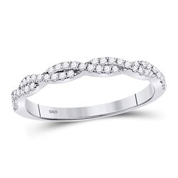 0.24 CTW Diamond Woven Stackable Ring 10KT White Gold - REF-26N9F