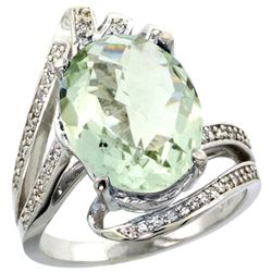 Natural 5.76 ctw green-amethyst & Diamond Engagement Ring 14K White Gold - REF-92N7G