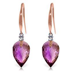 Genuine 19.1 ctw Amethyst & Diamond Earrings Jewelry 14KT Rose Gold - REF-41Y3F