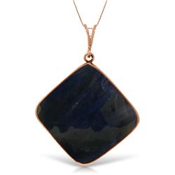Genuine 21.75 ctw Sapphire Necklace Jewelry 14KT Rose Gold - REF-77P2H