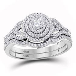 0.50 CTW Diamond Triple Halo Bridal Wedding Engagement Ring 10KT White Gold - REF-52K4W