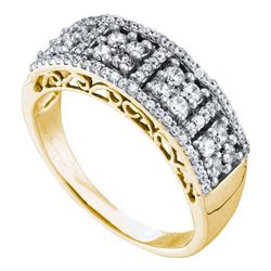 0.51 CTW Diamond Symmetrical Square Cluster Ring 14KT Yellow Gold - REF-52H4M