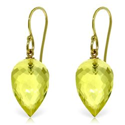 Genuine 18 ctw Quartz Lemon Earrings Jewelry 14KT Yellow Gold - REF-22M2T