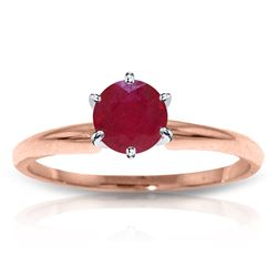 Genuine 0.65 ctw Ruby Ring Jewelry 14KT Rose Gold - REF-28M5T