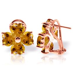 Genuine 6.5 ctw Citrine Earrings Jewelry 14KT Rose Gold - REF-79V7W
