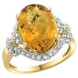 Natural 5.89 ctw quartz & Diamond Engagement Ring 14K Yellow Gold - REF-86Z5Y