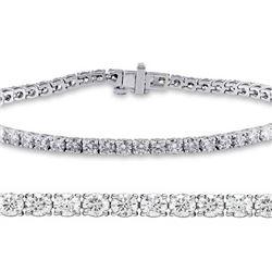Natural 3.01ct VS-SI Diamond Tennis Bracelet 18K White Gold - REF-236X6F