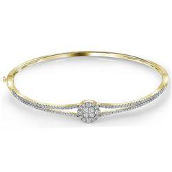 1 CTW Princess Diamond Soleil Bangle Bracelet 14KT Yellow Gold - REF-127Y4X