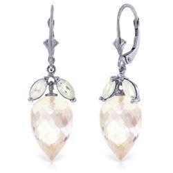 Genuine 25.5 ctw White Topaz Earrings Jewelry 14KT White Gold - REF-63V8W