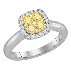 0.49 CTW Yellow Canary Diamond Square Cluster Ring 14KT White Gold - REF-75H2M