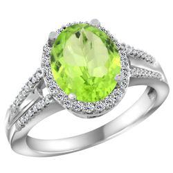 Natural 3.1 ctw peridot & Diamond Engagement Ring 10K White Gold - REF-49A8V