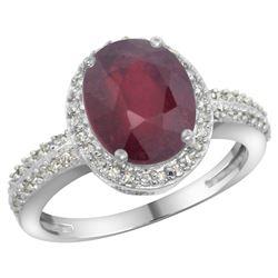 Natural 2.56 ctw Ruby & Diamond Engagement Ring 10K White Gold - REF-37N6G
