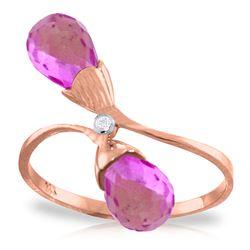 Genuine 2.52 ctw Pink Topaz & Diamond Ring Jewelry 14KT Rose Gold - REF-26R6P