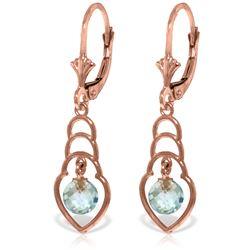 Genuine 1.25 ctw Blue Topaz Earrings Jewelry 14KT Rose Gold - REF-25K6V