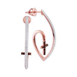 0.25 CTW Red Color Diamond Cross Faith Dangle Earrings 10KT Rose Gold - REF-36N2F