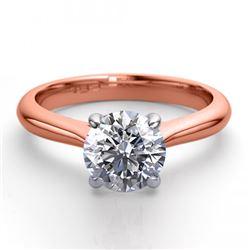 14K Rose Gold 1.36 ctw Natural Diamond Solitaire Ring - REF-403G2K-WJ13246