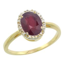 Natural 1.52 ctw Ruby & Diamond Engagement Ring 10K Yellow Gold - REF-34Z4Y
