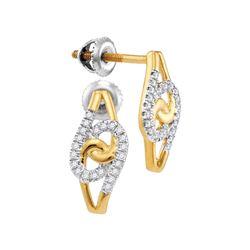 0.12 CTW Diamond Swirl Screwback Earrings 10KT Yellow Gold - REF-14H9M
