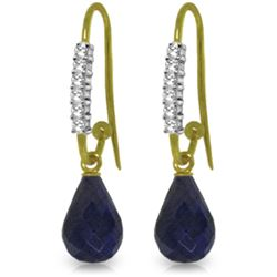 Genuine 17.78 ctw Sapphire & Diamond Earrings Jewelry 14KT Yellow Gold - REF-47H5X