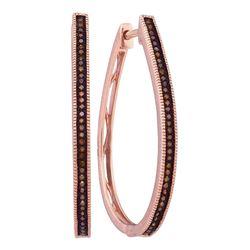 0.25 CTW Red Color Diamond Slender Large Unique Hoop Earrings 10KT Rose Gold - REF-37K5W