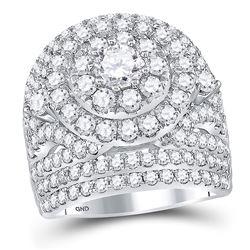 5.01 CTW Diamond Cluster Halo Bridal Engagement Ring 14KT White Gold - REF-675K2W