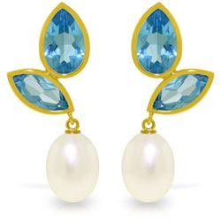Genuine 16 ctw Blue Topaz Earrings Jewelry 14KT Yellow Gold - REF-42W2Y