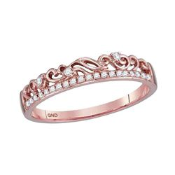 0.07 CTW Diamond Floral Stackable Ring 10KT Rose Gold - REF-13K4W