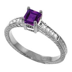 Genuine 0.65 ctw Amethyst & Diamond Ring Jewelry 14KT White Gold - REF-69F6Z