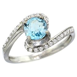 Natural 1.21 ctw blue-topaz & Diamond Engagement Ring 14K White Gold - REF-50F3N
