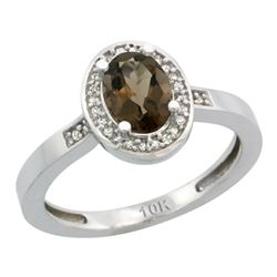 Natural 1.08 ctw Smoky-topaz & Diamond Engagement Ring 14K White Gold - REF-31R3Z