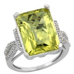 Natural 12.14 ctw Lemon-quartz & Diamond Engagement Ring 10K White Gold - REF-49W2K