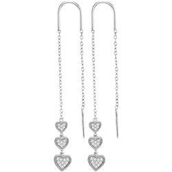 0.21 CTW Diamond Triple Dangling Heart Threader Earrings 10KT White Gold - REF-22X4Y