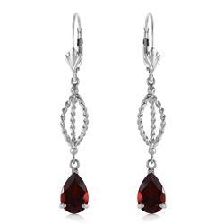 Genuine 3 ctw Garnet Earrings Jewelry 14KT White Gold - REF-45H5X