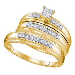 0.20 CTW His & Hers Diamond Matching Bridal Ring 10KT Yellow Gold - REF-30K2W