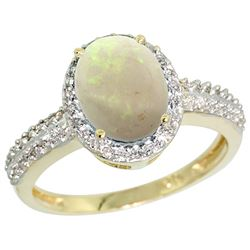 Natural 1.21 ctw Opal & Diamond Engagement Ring 14K Yellow Gold - REF-40M6H
