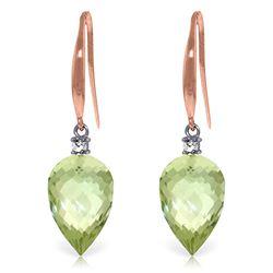 Genuine 19.1 ctw Green Amethyst & Diamond Earrings Jewelry 14KT Rose Gold - REF-41W3Y
