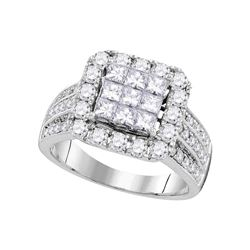 2.02 CTW Princess Diamond Cluster Bridal Engagement Ring 14KT White Gold - REF-209X9Y