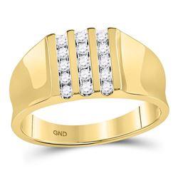 0.25 CTW Mens Channel-set Diamond Triple Row Wedding Ring 10KT Yellow Gold - REF-30X2Y