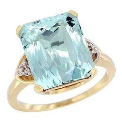 Natural 5.44 ctw aquamarine & Diamond Engagement Ring 14K Yellow Gold - REF-77X9A