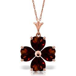 Genuine 3.8 ctw Garnet Necklace Jewelry 14KT Rose Gold - REF-42H2X