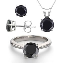 14K White Gold SET 3.20CTW Black Diamond Ring, Earrings, Necklace - REF-199R8X-WJ13342