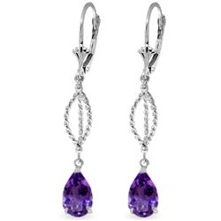 Genuine 3 ctw Amethyst Earrings Jewelry 14KT White Gold - REF-45Z5N