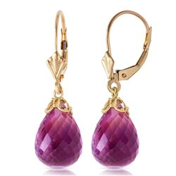 Genuine 14 ctw Amethyst Earrings Jewelry 14KT Yellow Gold - REF-34V3W